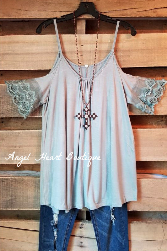 The Cutest Basic Top Cold Shoulder - Sage
