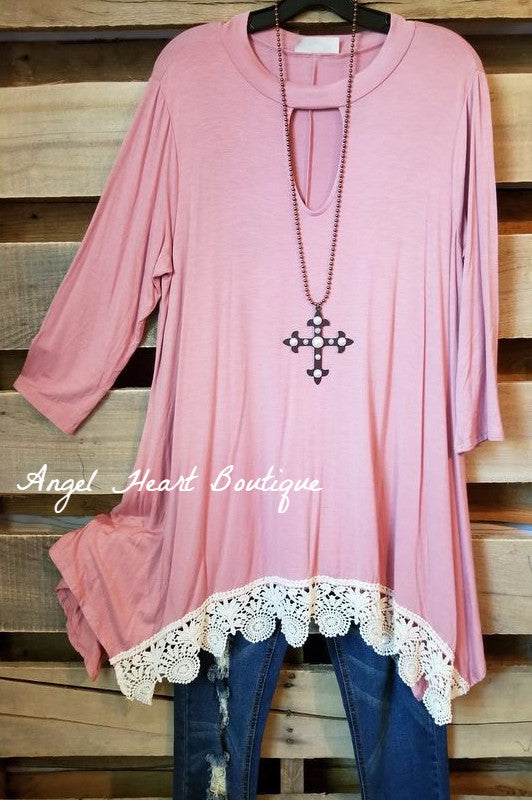 Heart To Heart Solid Tunic - Mauve