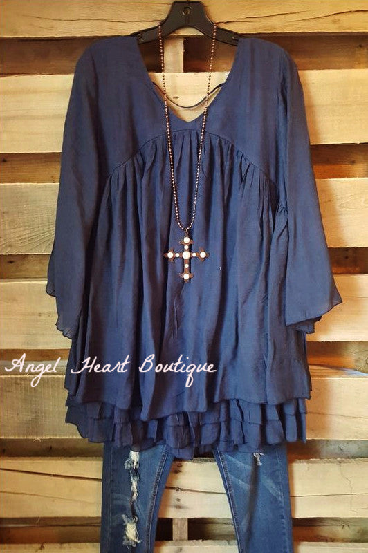 Only Thing That Matters Tunic - Navy - Sassybling - Tunic - Angel Heart Boutique  - 1