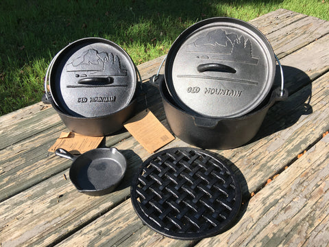 Dutch Oven Kitchen Set - 4 Quart & 2 Quart Dutch Ovens + Trivet + Spoon Rest - Free Shipping USA