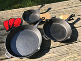 3 Skillet Cast Iron Cook Set w/ Spoon Rest