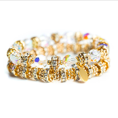 Gold Glitter Glam Bracelet Set (Clear)