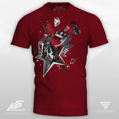 Persona 5 Masks T-Shirt printed on a dark red men's crew cut tee.