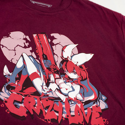 A closeup of the Guilty Gear Crazy Love Elphelt Shirt.