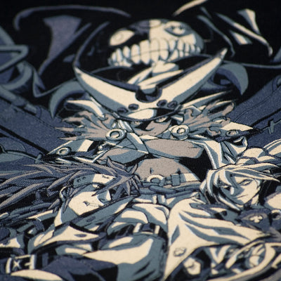 A closeup of Sol Badguy, Ky Kiske and Ramlethal Valentine on the Guilty Gear No Mercy T-Shirt.