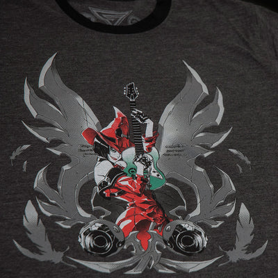 Guilty Gear Red Witch design featuring I-No, printed on a charcoal and black ringer t-shirt.