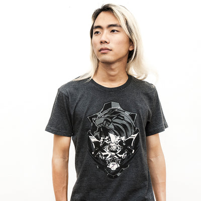A studio shot of the Guilty Gear Leo T-shirt, Whitefang.
