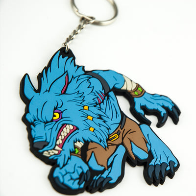 Closeup of the Killer Instinct Sabrewulf keychain