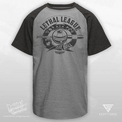 Lethal League Big League, Raglan Style T-Shirt on silver and dark grey.