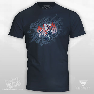 Lethal League Thrash Shirt featuring the character Switch on a light navy tee.