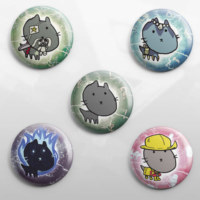 Skullgirls - Scribble Cat Buttons