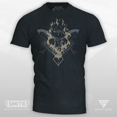 Smite Loki Design on a Dark Navy Cotton and Polyester T-Shirt
