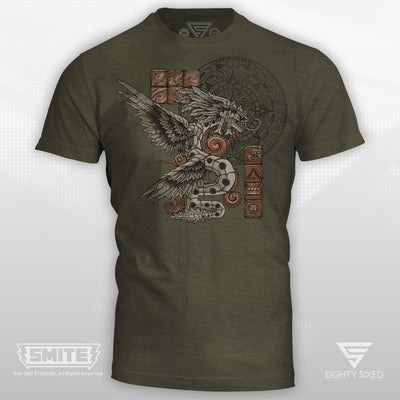 Smite Kukulkan Design on a Forrest Green Heather T-shirt.