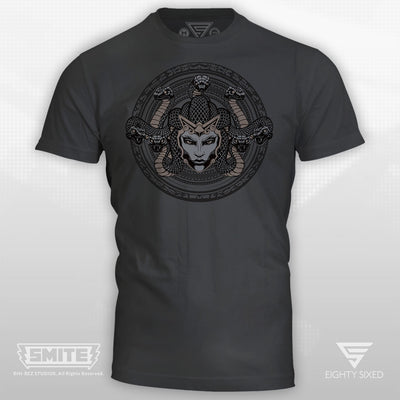 Smite Medusa Design on a 100% cotton, cool grey t-shirt