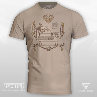 Smite Neith T-Shirt printed on a 100% cotton sand colored tee.