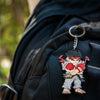 Street Fighter Keychain tag on a backpack.