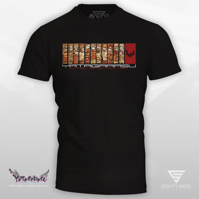 Yatagarasu Cataclysm T-Shirt, black and red design featuring all the characters from the game.