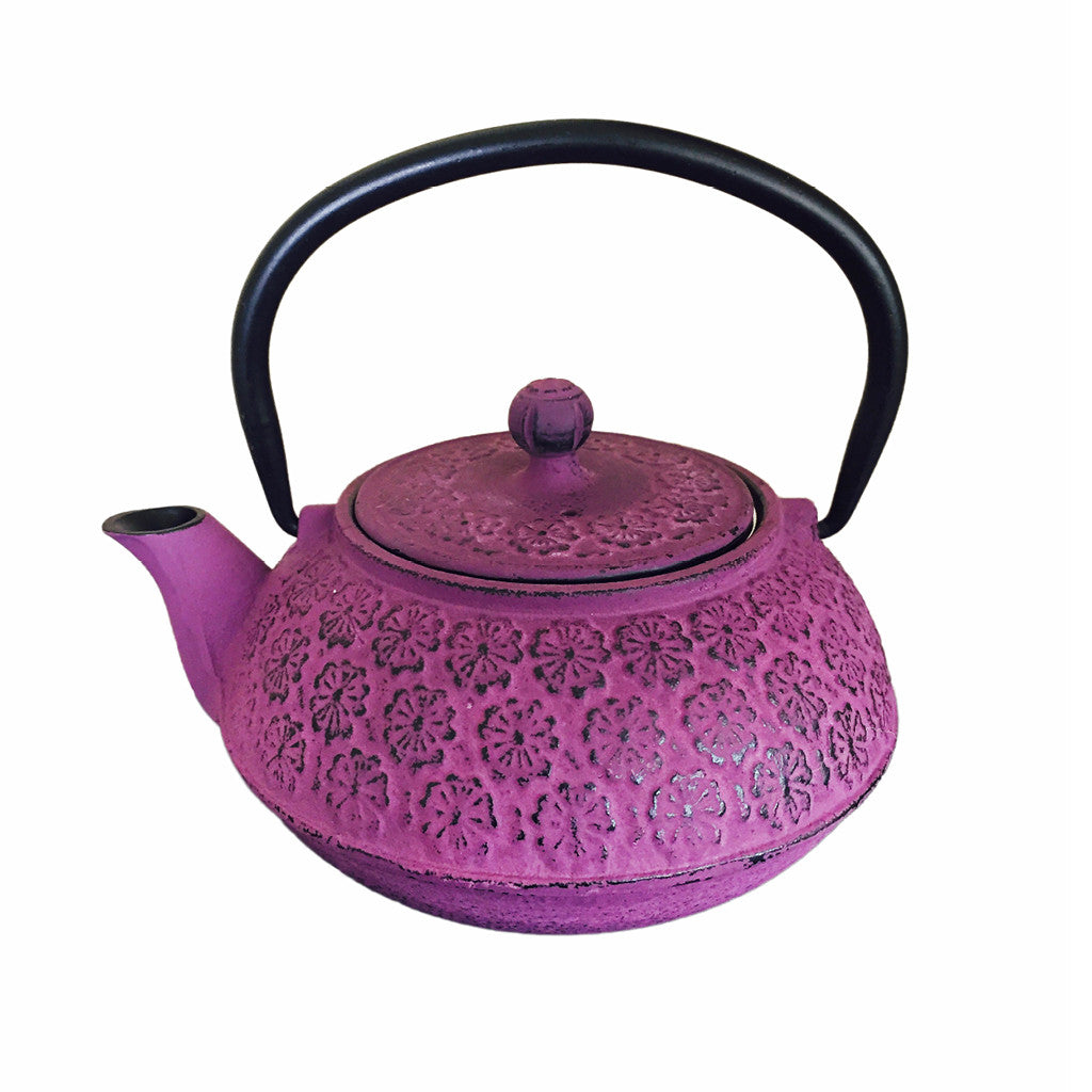 Cast Iron Teapot 600ml - Cherry Blossom Purple