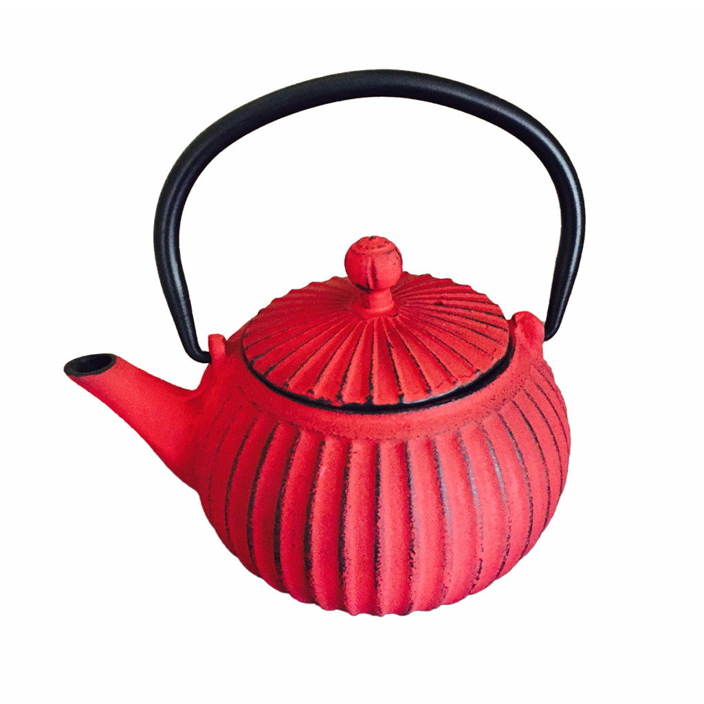 Cast Iron Teapot 500ml - Ribbed Red