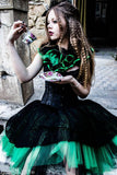 gothic victroiran lace black and green adult tutu skirt
