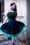 Gothic victorian black lace over green adult tutu skirt knee length formal prom dance bridal costume