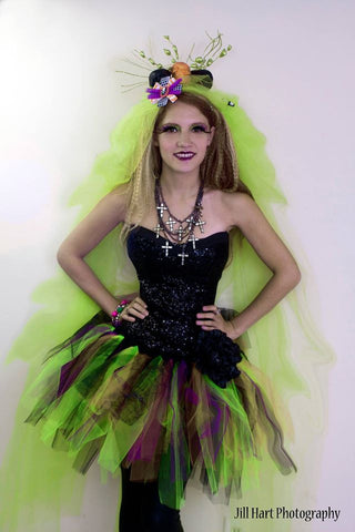 Pretty witchy Adult tutu skirt Screaming purple black orange and green bats halloween costume