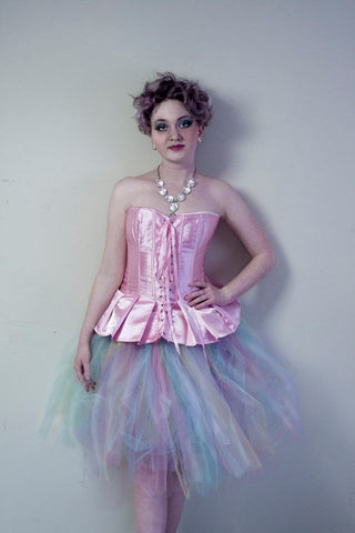 Princess Style Baby Pink Satin Corset With Peplum Waist and Front Ribbon Tie-Up