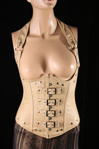 Steampunk Fetish Beige Faux Leather Halter Underbust With Buckle Straps