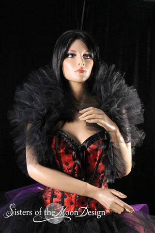 black gothic tulle boa shrug tie on design vampire wedding bridal party halloween costume ball