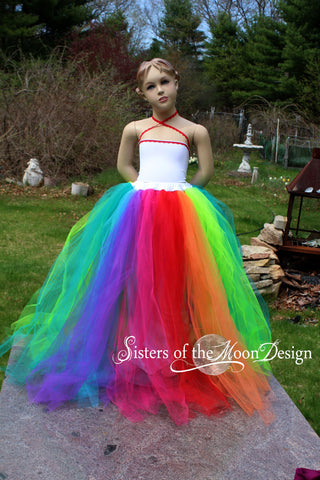 Child's Rainbow streamer Adult tutu skirt floor length formal pride wedding bridal flower girl dress