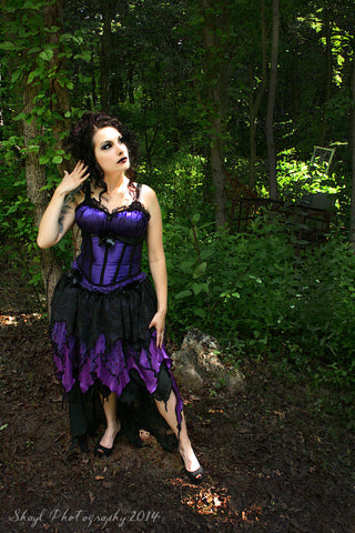 Purple Goddess Adult skirt hi low nymph ren faire dark gothic purple costume fae faerie festival Dance