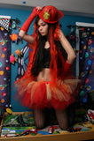 Flame girl adult tutu skirt red yellow orange dance roller derby style