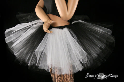 Black and white striped adult tutu skirt ballet costume cosplay