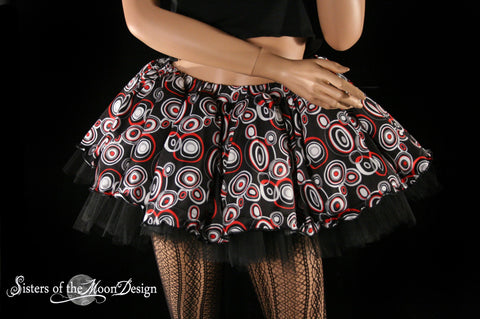 Retro Girl Pop 80s adult tutu skirt punk party dance red black gothic costume roller derby dance club swirl print