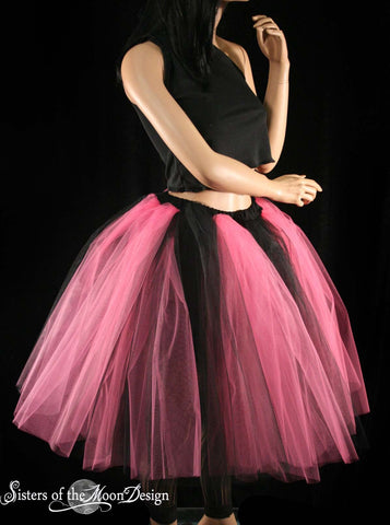 Gothic Adult tutu Pink Black Romance skirt petticoat extra poofy knee length with underskirt