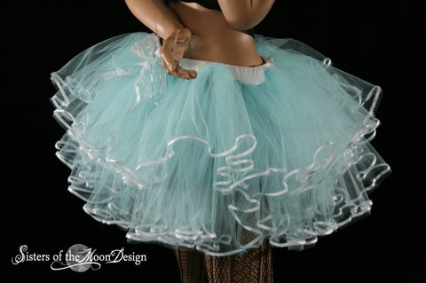 Alice pretty little frills tutu skirt adult aqua with white trimmed layered halloween costume dance