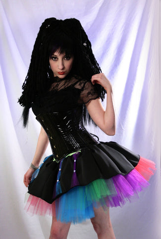 Rainbow Rave Tutu skirt black dance Adult -- You Choose Size -- Sisters of the Moon