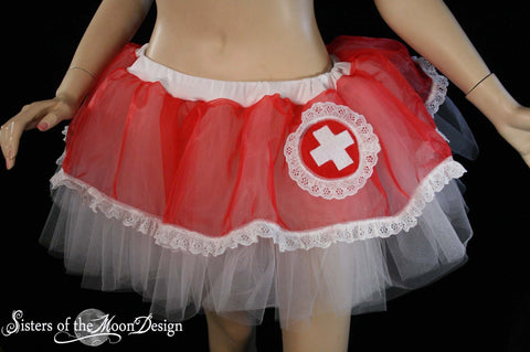Sexy Nurse tutu skirt Adult Costume halloween medical red white costume cosplay dance --You Choose Size -- Sisters of the Moon