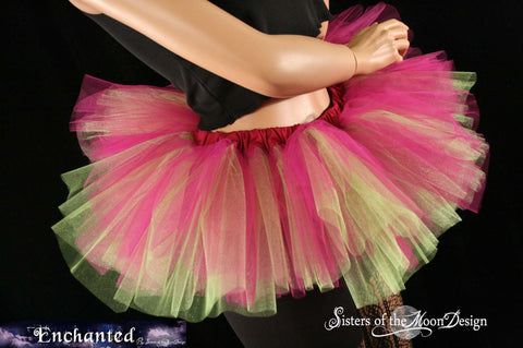 Peek a boo mini Fuchsia and neon citrus tutu skirt Adult circus costume dance roller derby