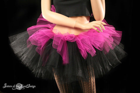 Fuchsia and black Layered two tone gothic adult dance tutu halloween