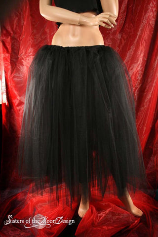 Black Adult tutu skirt Floor length extra puffy petticoat two layer Halloween Steampunk Gothic wedding