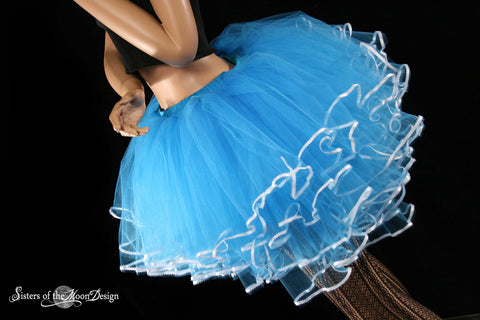 Queen Alice tutu skirt Turquoise white ribbon trimmed huge poofy adult costume dance wedding bridal halloween