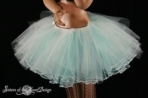 Glow Haven Rave Layered two tone tutu skirt dance white and aqua adult