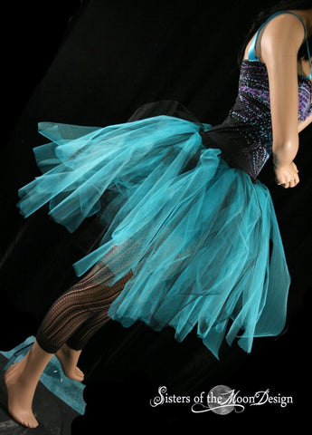 Streamer knee length tutu skirt  turquoise and black adult -- You Choose Size