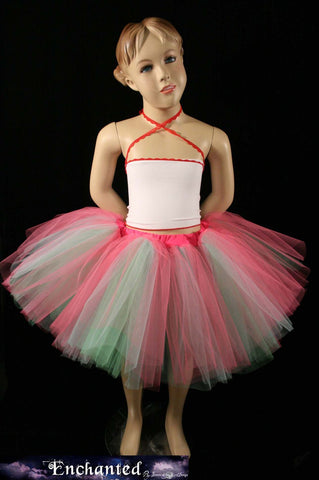 child candyland three layer tutu skirt. hot pink mint for dance flower girl dress up
