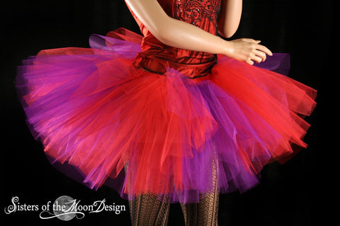 Red and Purple striped tutu skirt extra puffy three layer race mad hatter costume halloween