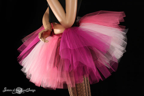 Iced Rose tutu skirt Extra puffy pinks black adult halloween costume dance club wear bridal