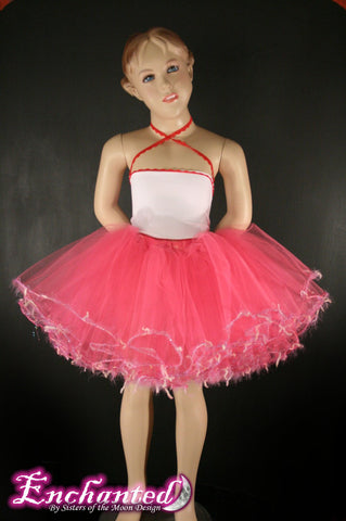 Pretty in Pink trimmed dance tutu skirt Child Extra puffy style --Grow with Me