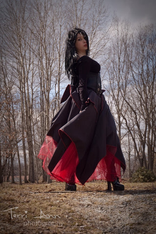 Gothic Asymmetrical skirt long victorian dance fromal prom steampunk red black
