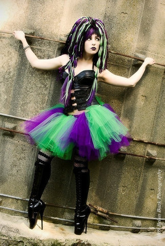 Purple and Green Monster tutu skirt Adult striped halloween extra puffy